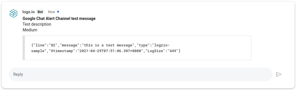 Google Chat example notification