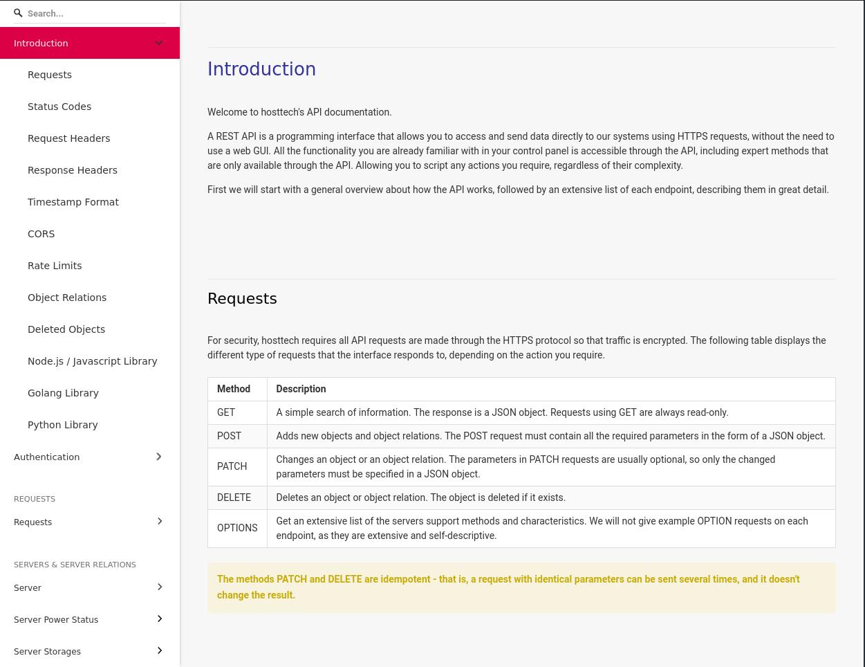 hosttech api documentation